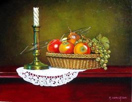 Chandelier et fruits