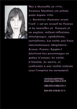 """Livre """"Dernières chansons avant l'exil"""" de Vanessa Martinez 2018"""