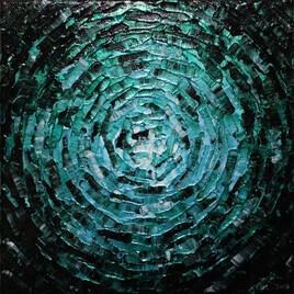 Peinture moderne : Petit éclat de lueur bleue émeraude iridescente.