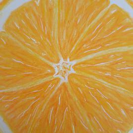 Orange  au crayons de couleurs