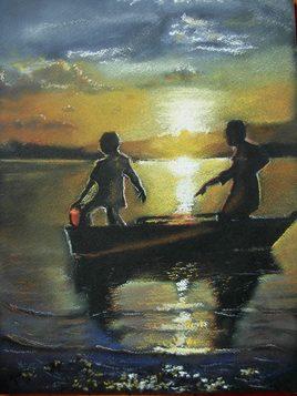Pêcheurs au soleil couchant