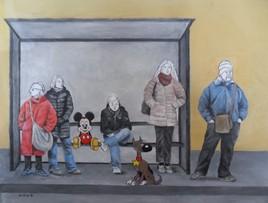 Rantanplan ;Mickey et des gens , attendent le bus