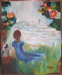 Jeune fille au bord du lac