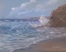 vague, plage roche