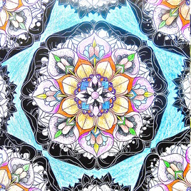 Mandala fleur bleu orange / Drawing A blue orange mandala