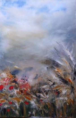 orage sur le champ de fleurs