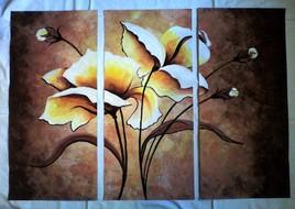 Peinture Fleurs-triptyque-