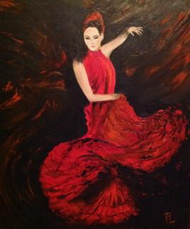 "Femme ""and co""- huile sur toile - 46x55 cm"