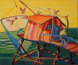 cabane aux oiseaux et pëcheur
