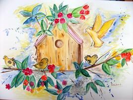 Nichoir aux oiseaux, aquarelle