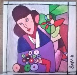esprit mosaïque, femme au chapeau