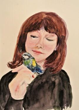Jeune femme et l'oiseau