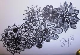 Dessin feutre noir - fleurs