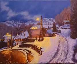 Nocturne hivernal d'un village pyrénéen