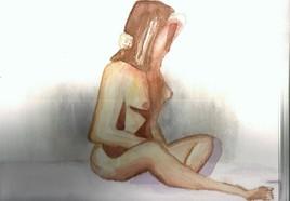 femme sur un drap