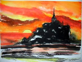 crépuscule sur le Mont saint Michel