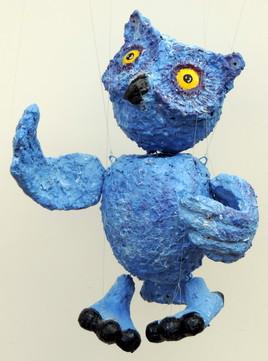 hibou bleu marionnette à fils JfG Jean-François Gantner