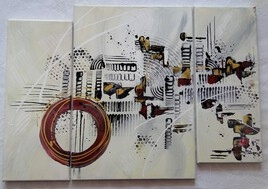 LAMLIMLUM, peinture moderne, triptyque, abstrait