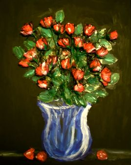 """""""Real roses in a fake vase on an invisible table (reality)"""""""
