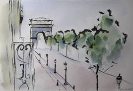 Les Champs Elysées - Vue à l'encre de Chine et aquarelle