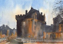 Alençon Château des Ducs au crépuscule