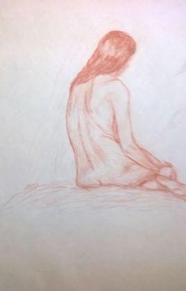 D122 Modéle féminin au fusain Texier de Pélussin
