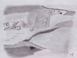 Mère ours blanc et ses petits