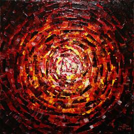 Peinture moderne : Petit éclat de lueur jaune rouge.