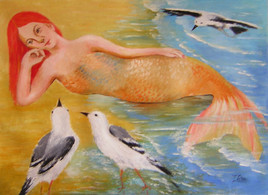 Red mermaid and seagulls