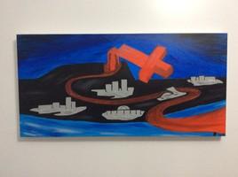 """Œuvre artistique, Peinture huile 18"""" x 36"""" - Le déclin de l'empire"""