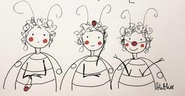 Trois petits singes clowns