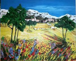 """D' après tableau de Anne-Marie BRIANTE copie """" les Alpilles de Pagnol"""""""