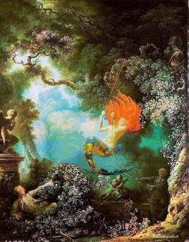 une sirène sur une balançoire.. Fragonard revisité..