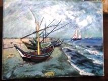 Barques aux Saintes  Maries (d'après Vincent Van Gogh)