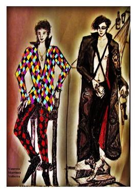 """Arlequin et Pantalone sans masque"" de Vanessa Martinez Volterra 2019"