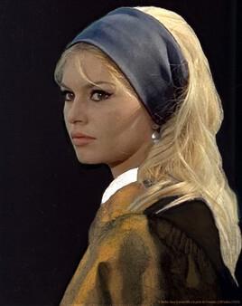 Brigitte Bardot revisite la jeune fille à la perle de Vermeer ..