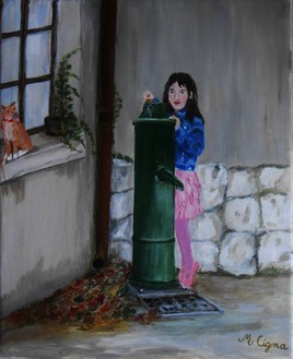 Peinture Petite fille a la fontaine