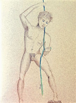 Homme nu tirant une corde Cyril / Drawing A naked man pulling down a rope
