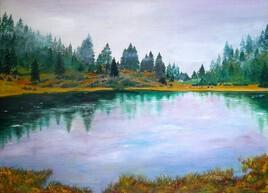 """""""Le lac """"  Huile 73X53"""