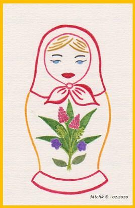 Matriochka au bouquet printanier