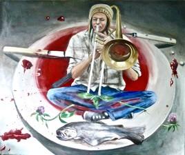 musicien charmant un poisson