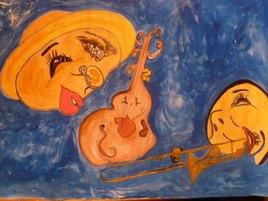 Peinture rdv avec la lune ,mais le soleil ne  le sais pas