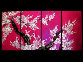 fleurs de cerisier en quadriptique