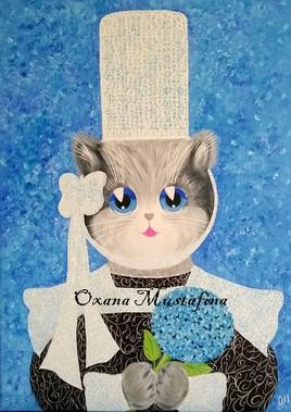 "Peinture acrylique Chat breton ""Enora"""