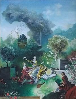 L'Amant couronné d'après une oeuvre de Fragonard