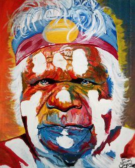Aborigène Portrait Painting par EFART: Elkechai Fayçal ART
