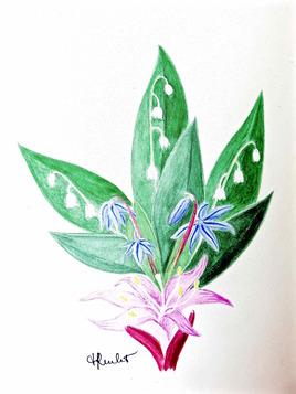 1er mai : Plein de bonheur à mes visiteurs ! / Painting : May 1st, happiness to my visitors