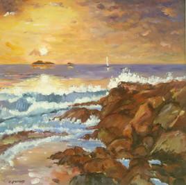 Soleil couchant mer et rochers