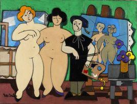 Peinture Les deux modèles et le peintre par YVES DUBOS