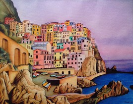 - aquarelle de Manarola, Italie -